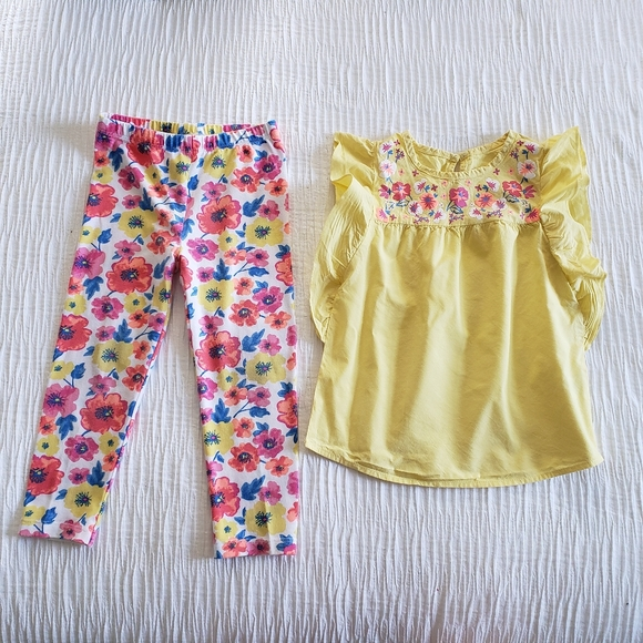 healthtex Other - Healthex 2Pc Set Yellow Pink Blue Flower Dress Top